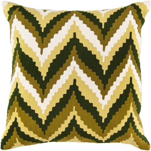 """22"""" Brown and Hunter Green Chevron Square Throw Pillow - IMAGE 1"""