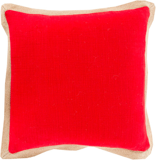 "22"" Red and Brown Contemporary Square Throw Pillow - IMAGE 1"