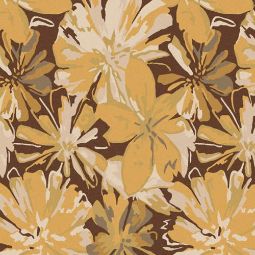 9.75' x 9.75' White and Brown Contemporary Hand Tufted Floral Square Wool Area Throw Rug - IMAGE 1