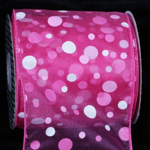 "Pink and White Tuffts Polka Dot Wired Craft Ribbon 4"" x 20 Yards - IMAGE 1"