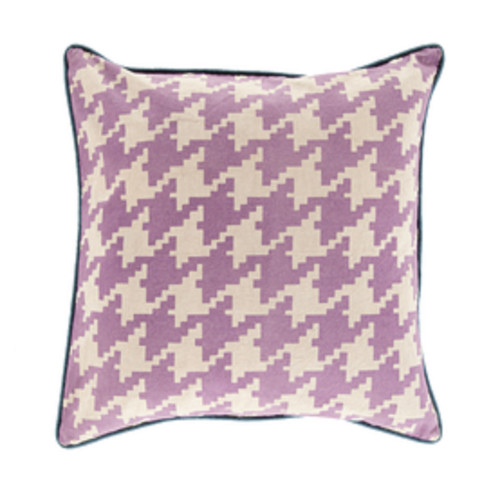 """18"""" White and Purple Contemporary Throw Pillow - IMAGE 1"""
