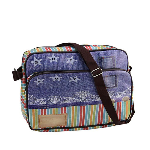 """15"""" Decorative Stripes and Jean Design Crossbody Bag/Purse with Strap - IMAGE 1"""