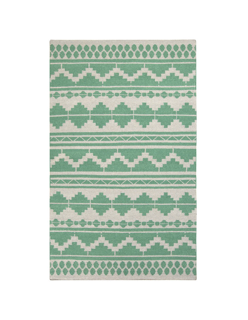 8' x 11' Bohemian Green and Gray Hand Woven Rectangular Wool Area Throw Rug - IMAGE 1