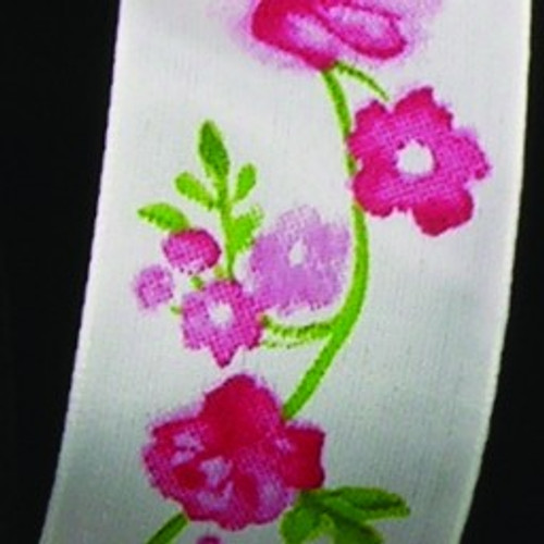 "White and Pink Wild Rose Garden Wired Craft Ribbon 1.5"" x 27 Yards - IMAGE 1"