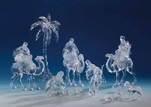 """Set of 9 Icy Clear Religious Christmas Nativity Set Figurines 15.25"""" - IMAGE 1"""
