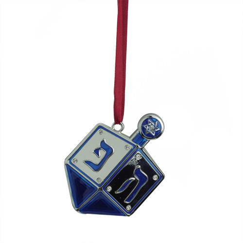 """3"""" Blue and Silver Dreidel Hanukkah Holiday Ornament with European Crystals - IMAGE 1"""