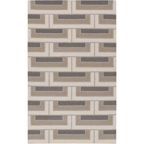 2' x 3' Building Bricks Olive Gray and Beige Rectangular Area Throw Rug - IMAGE 1