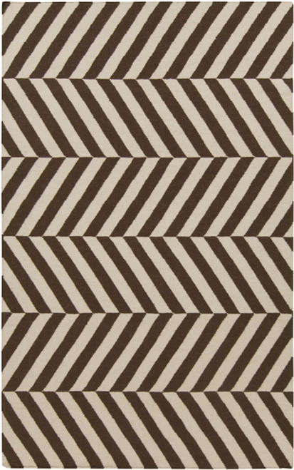 3.5' x 5.5' Aeonian Chevron Ribbons Mocha Brown and Cream Reversible Hand Woven Wool Area Throw Rug - IMAGE 1