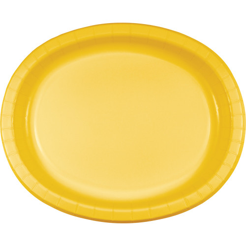 """Club Pack of 96 School Bus Yellow Disposable Paper Party Banquet Dinner Plates 12"""" - IMAGE 1"""