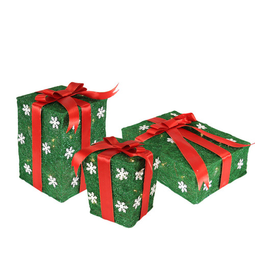 """Set of 3 Pre-Lit Green and Red Gift Boxes Outdoor Christmas Decorations 13"""" - IMAGE 1"""