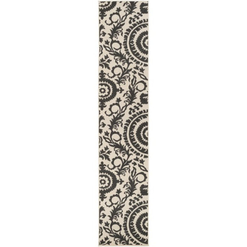 2.25' x 11.75' Flowery Maze Black Olive and Cream White Shed-Free Area Throw Rug Runner - IMAGE 1