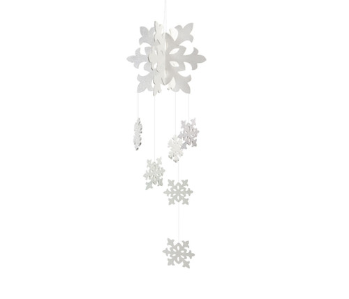 "34"" White Glittering Snowflake Christmas Hanging Ornament - IMAGE 1"