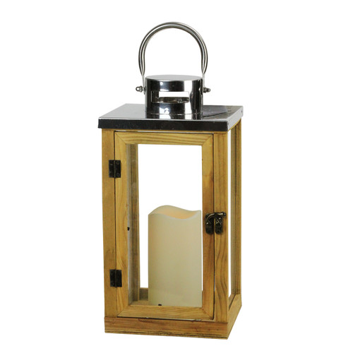 """13.75"""" Country Rustic Wood and Glass Lantern with LED Flameless Pillar Candle with Timer - IMAGE 1"""