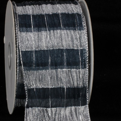 "Navy Blue and Silver Sheer Isadora Plaid Wire Edged Craft Ribbon 3"" x 20 Yards - IMAGE 1"