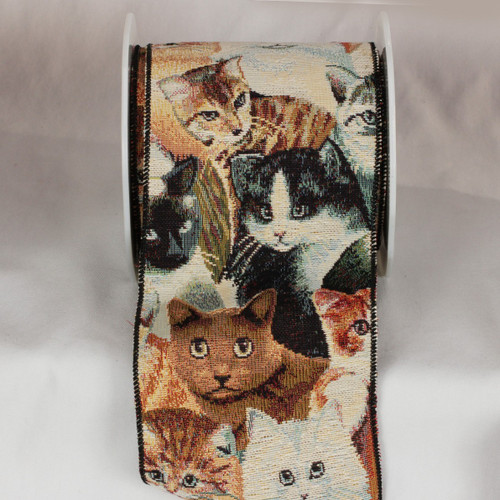 """Brown and Gray Cat Tapestry Wired Craft Ribbon 5"""" x 9 Yards - IMAGE 1"""