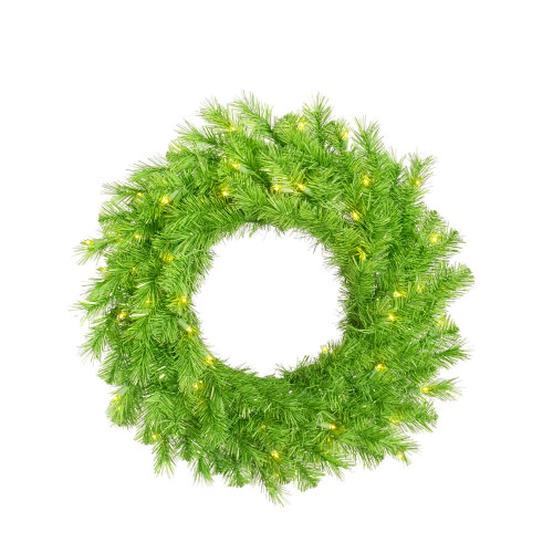 Pre-Lit Lime Green Ashley Spruce Artificial Christmas Wreath - 36-Inch, Clear and Green Lights - IMAGE 1