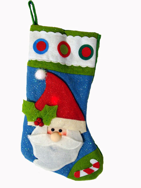 """22"""" Color Changing LED Lighted Glittered Santa Claus Christmas Stocking - IMAGE 1"""