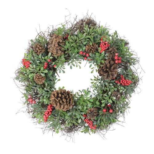 Glittered Pine Cone and Red Berry Artificial Christmas Wreath - 24-Inch, Unlit - IMAGE 1