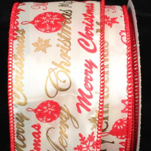 """Red and White Merry Christmas Wired Craft Ribbon 2.5"""" x 40 Yards - IMAGE 1"""