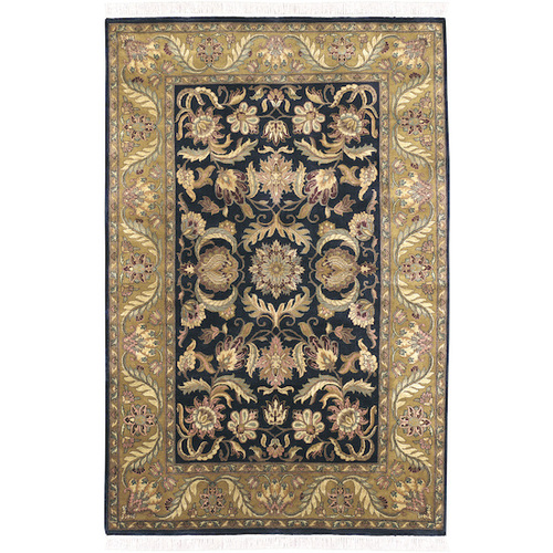 8.5' x 11.5' Floral Green and Black Hand Knotted Rectangular Wool Area Throw Rug - IMAGE 1