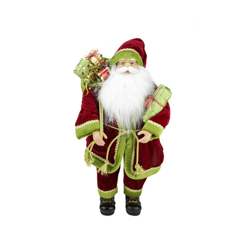 "24"" Red and Green Standing Santa Claus with Gift Bag Christmas Figurine - IMAGE 1"