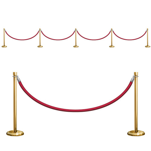 """Pack of 6 Red and Gold VIP Rope Award Nights Party Wall Decors 61"""" - IMAGE 1"""