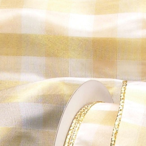 "Gold and Cream Buffalo Plaid Wire Edged Craft Ribbon 2"" x 20 Yards - IMAGE 1"