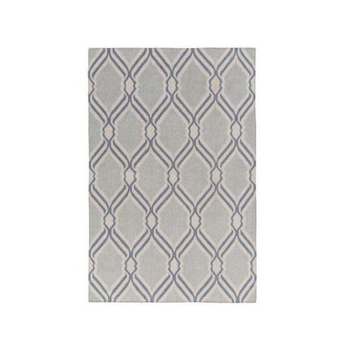 5' x 7.5' Chained Links Gray and Blue Hand Woven Rectangular Area Throw Rug - IMAGE 1
