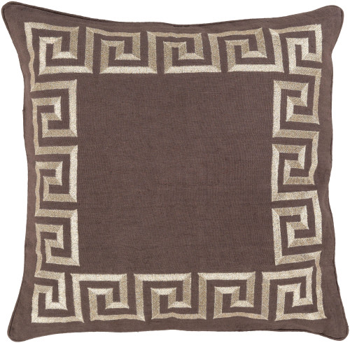 "22"" Chocolate Brown and White Wavy Bordered Square Throw Pillow - IMAGE 1"