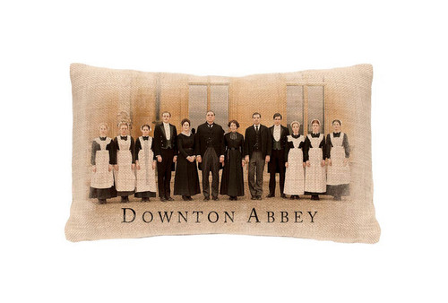 "20"" Beige and Brown 'Downton Abbey' Downstairs Cast Rectangular Throw Pillow - IMAGE 1"
