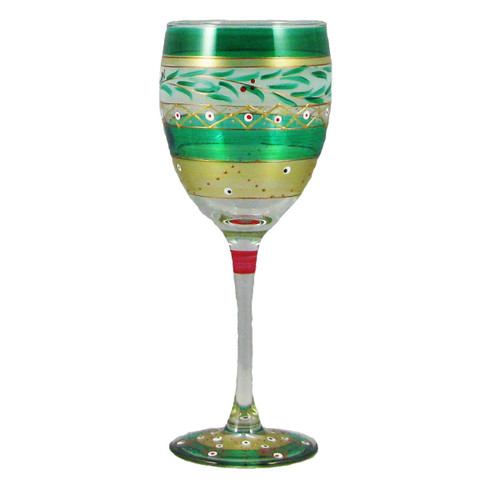 "Set of 2 Green Mosaic Garland Hand Painted Wine Drinking Glasses 8"" - IMAGE 1"