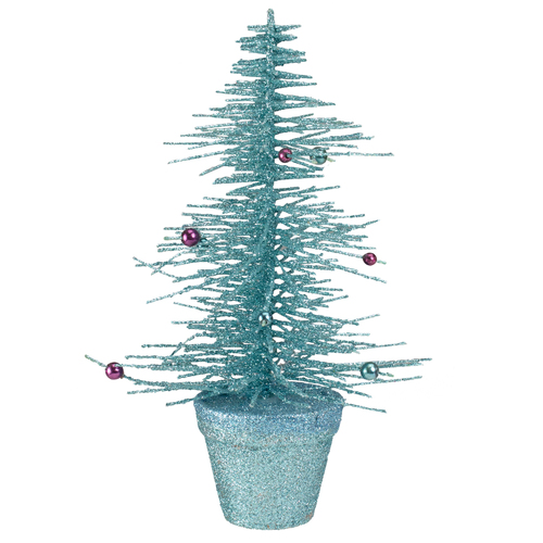 """11"""" Potted Glittered Spike Tabletop Artificial Christmas Tree – Unlit - IMAGE 1"""