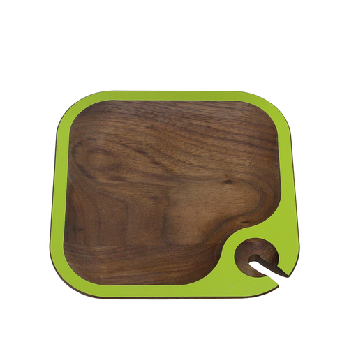 """6.5"""" Brown and Green Square Handcrafted Wine Party Tray - IMAGE 1"""
