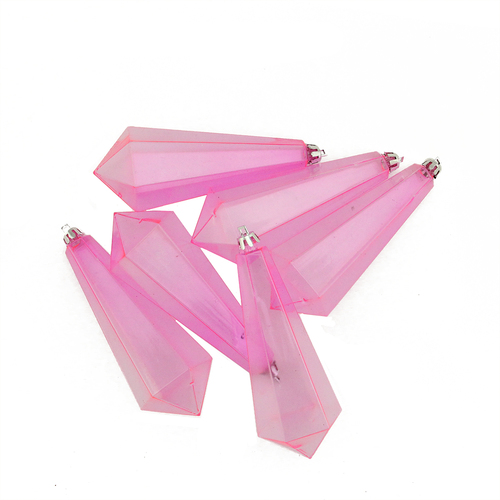 "6ct Bubblegum Pink Shatterproof Transparent Christmas Icicle Ornaments 5.5"" - IMAGE 1"
