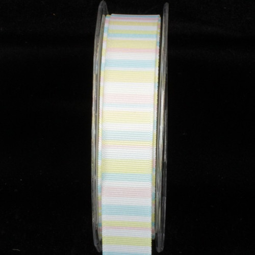 "White and Yellow Striped Wired Craft Ribbon 1"" x 54 Yards - IMAGE 1"