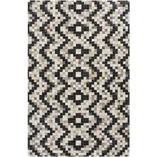 8' x 10' Ivory and Black Hand Crafted Area Throw Rug - IMAGE 1