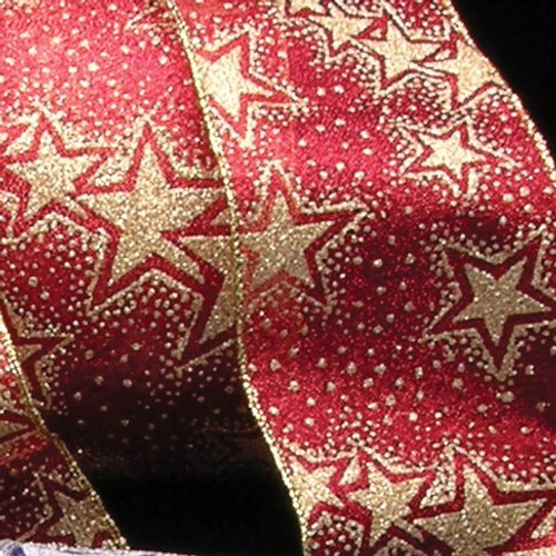 """Metallic Red and Gold Stars Wired Craft Ribbon 3"""" x 20 Yards - IMAGE 1"""