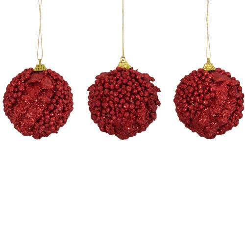 "3ct Cherry Red Shatterproof Holographic Glittered Christmas Ball Ornaments 3"" (75mm) - IMAGE 1"