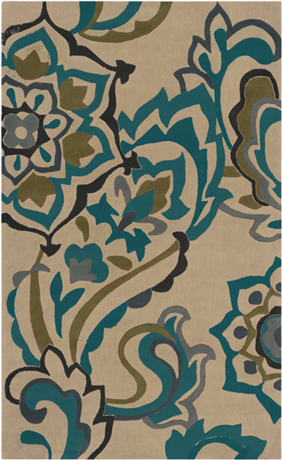3.5' x 5.5' Teal Blue and Olive Green Hand Tufted Rectangular Area Throw Rug - IMAGE 1