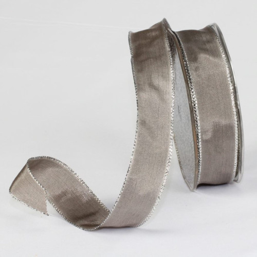 """Gray and Silver Solid Wired Craft Ribbon 1"""" x 54 Yards - IMAGE 1"""