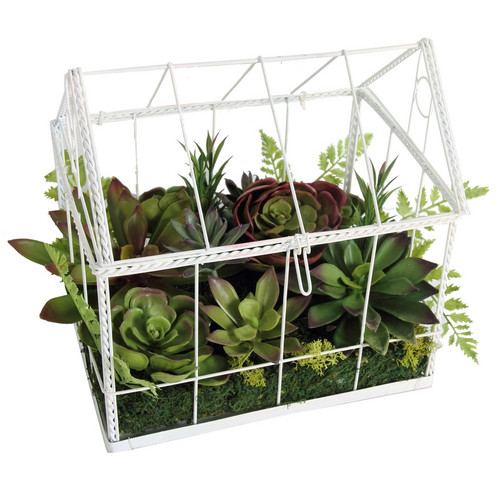 """14.5"""" Green and White Artificial Succulent Garden in House Tabletop Decor - IMAGE 1"""