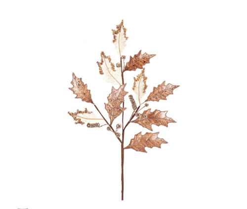 "28"" Gold and White Holly Leaf with Berries Artificial Christmas Spray - IMAGE 1"