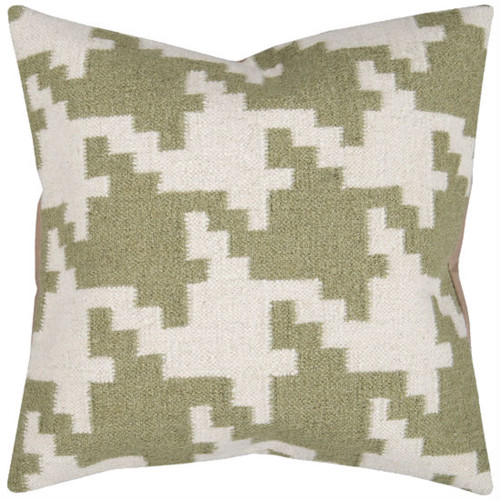 """20"""" Green and White Square Contemporary Throw Pillow - IMAGE 1"""