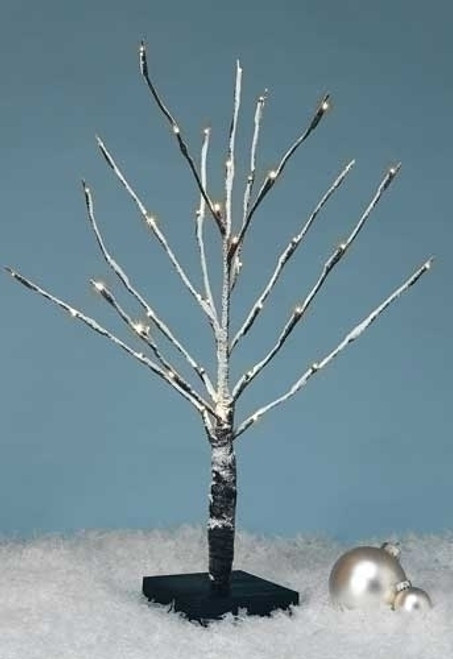 """24"""" White Battery Operated LED Lighted Snowy Christmas Tree Tabletop Decor - IMAGE 1"""