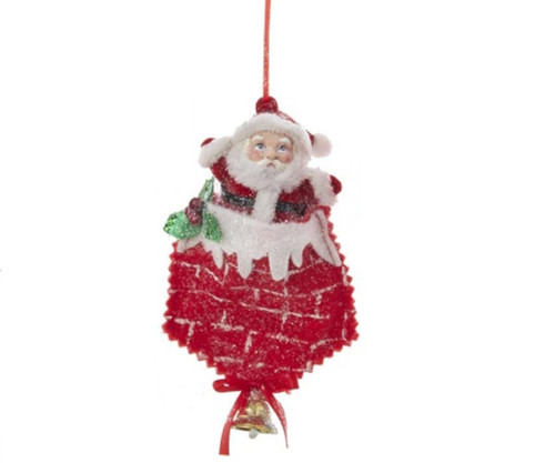 """5"""" White and Red Santa in the Chimney Christmas Ornament - IMAGE 1"""