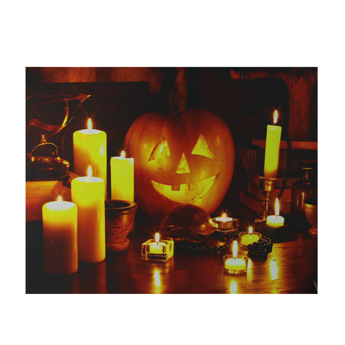 "Orange and Yellow LED Lighted Witch's Jack-O'-Lantern Halloween Wall Art 15.75"" x 19.5"" - IMAGE 1"