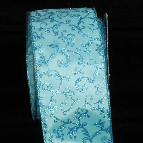 "Turquoise Blue Filigree Wired Craft Ribbon 3"" x 20 Yards - IMAGE 1"