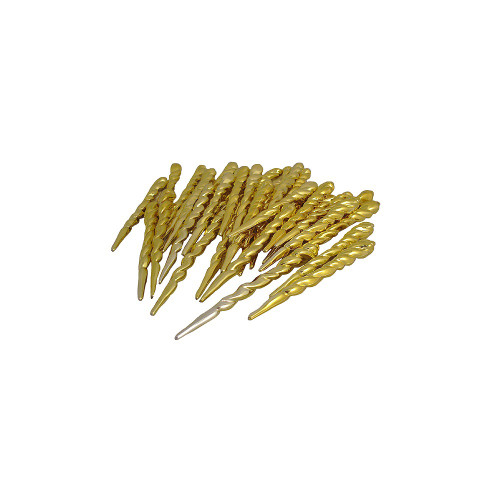 """36ct Gold Shiny Shatterproof Christmas Icicle Ornaments 5"""" - IMAGE 1"""