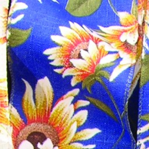 """Blue and Yellow Sunflower Meadow Wired Craft Ribbon 2.5"""" x 20 Yards - IMAGE 1"""
