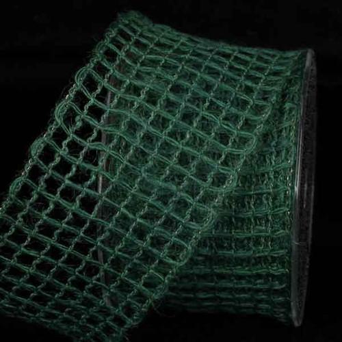 "Hunter Green Mesh Wired Craft Ribbon 2.5"" x 22 Yards - IMAGE 1"